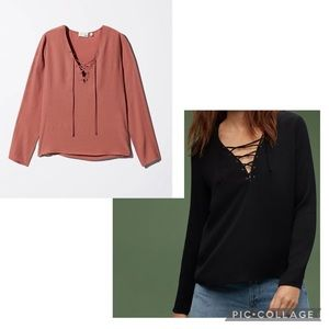 Wilfred Free Redling lace up long sleeve rayon top